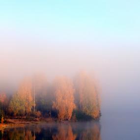 Autumn fog by Elisabeth Johansson - Landscapes Waterscapes ( water, sweden, fog, autumn, colors )