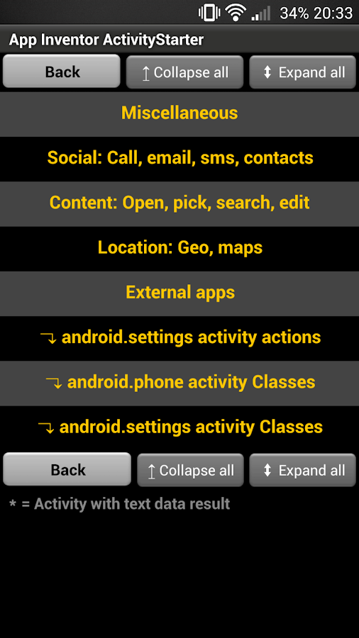 App Inventor ActivityStarter- screenshot