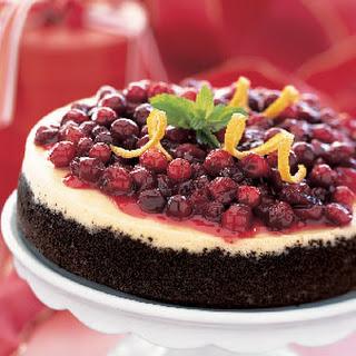 Cranberry-Orange Cheesecake with Chocolate Crust.