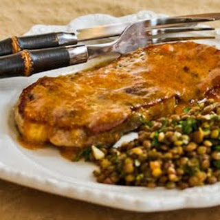 Pan-Fried and Roasted Pork Chops with Apricot-Dijon Sauce.
