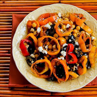 Salad with Marinated Peppers, Garbanzos, and Olives.