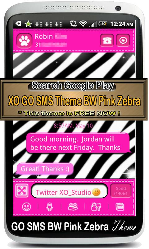 GO SMS Pro Pink Zebra Theme 2 - screenshot