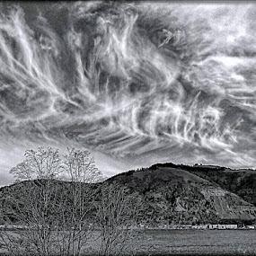 The scenic drive by Helen Jamison - Black & White Landscapes ( clouds, hills, mountains, columbia river, rolling clouds )