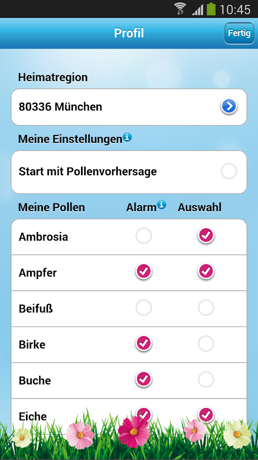 Polleninfo- screenshot