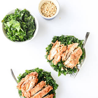 Shredded Kale Salad with Fried Chicken.