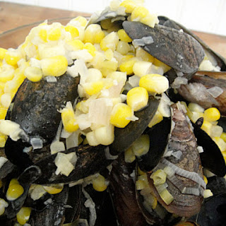 Garlicky Steamed Mussels with Corn and Sherry