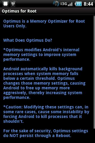Optimus Root Memory Optimizer - screenshot