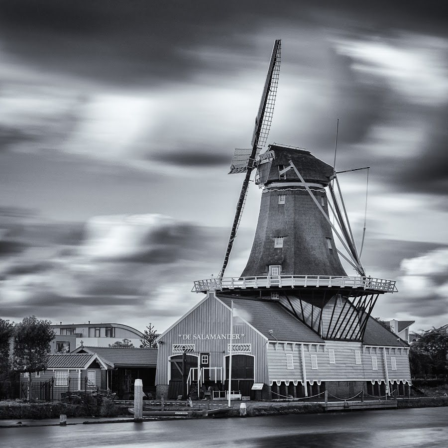 De Salamander Molen by Dawn Black - Black & White Buildings & Architecture ( lee big stopper, leidschendam, salamander, nederland, monochrome, molen, black and white, x-t1, dawn s. black, canal, netherlands, 1:1, no people, fuji, long exposure, square, dawn s. black photography, mono, zuid holland, windmill )