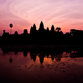The Shadow of Angkor Wat  by ChenLin Kng - Landscapes Sunsets & Sunrises ( temple, silhouette, sunrise, angkor wat, cambodia, siem reap )