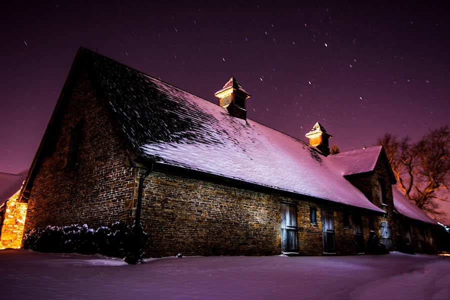 Quiet Night by Andrew Hale - Buildings & Architecture Other Exteriors ( light painting, pa, stars, pennsylvania, night, stables,  )