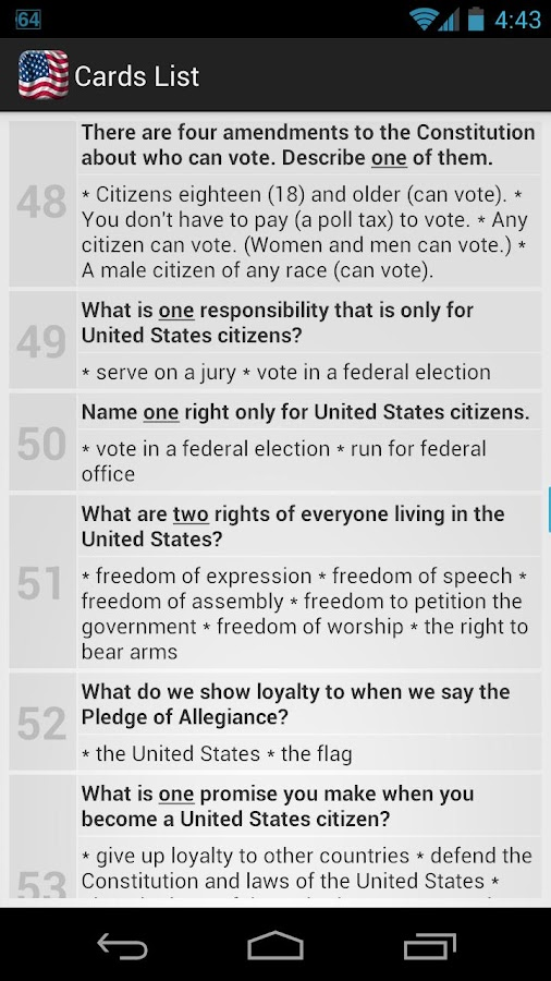 U.S. Citizenship Test 2014 - screenshot