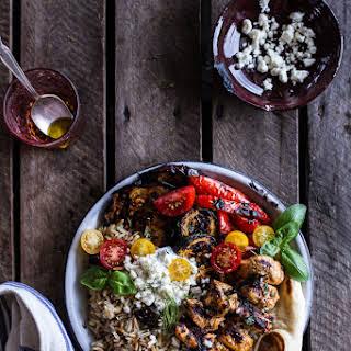 Greek Chicken Souvlaki and Rice Pilaf Plates w/Marinated Veggies + Feta Tzatziki..