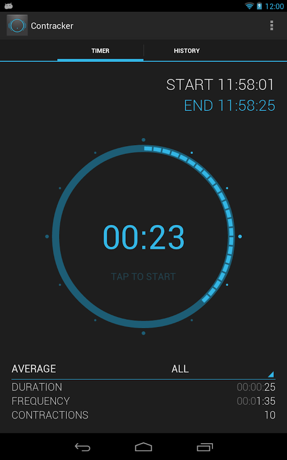 Contracker - contraction timer- screenshot