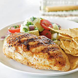 Chicken Breasts with Avocado, Tomato, and Cucumber Salsa.
