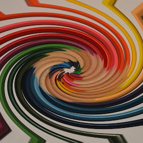 Pencil Swirl by Lynnie Adams - Abstract Patterns ( abstract, wall art, swirl, pencils, colours )