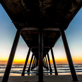Pier at Sunset by Danielle Falknor - Landscapes Beaches ( beaches, sunset, california, los angeles, pier, ocean )