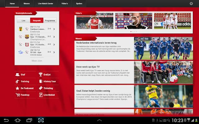 Officiële AFC Ajax tablet app - screenshot