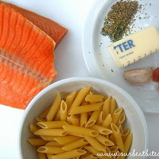 Quick and Easy Herb-Butter Penne with Salmon.