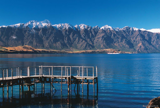 Lake_Wakatipu - The second largest of New Zealand's southern glacial lakes, Lake Wakatipu is nearly 50 miles long and bordered on all sides by glaciated mountains. The highest peak is Mount Earnslaw at 9,249 feet.