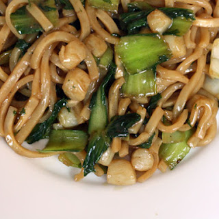 Udon Noodles with Bay Scallops and Baby Bok Choy
