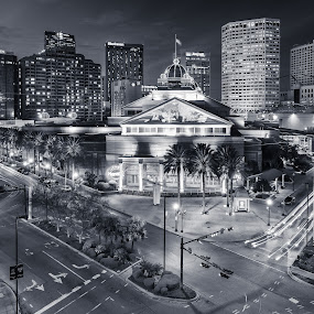 New Orleans Twilight by Adam Collins - City,  Street & Park  Skylines ( new orleans, skyline, cars, twilight, light trails, casino )
