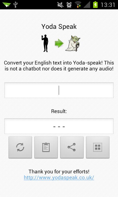 Yoda Speak - screenshot