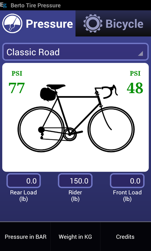 Bicycle Tire Pressure Demo - screenshot