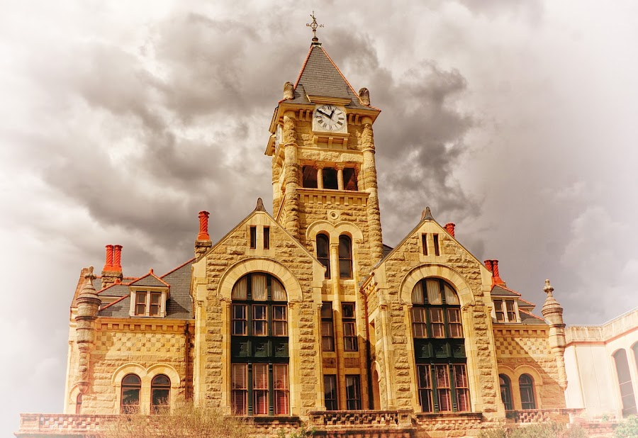 Courthouse, Victoria, texas by Scott Walker - Digital Art Places ( clouds, structure, court house, texas, victoria, courthouse )