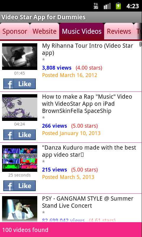 Video Star App for Dummies - screenshot