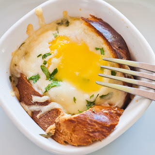 Baked Eggs in a Basket with Asiago Cheese