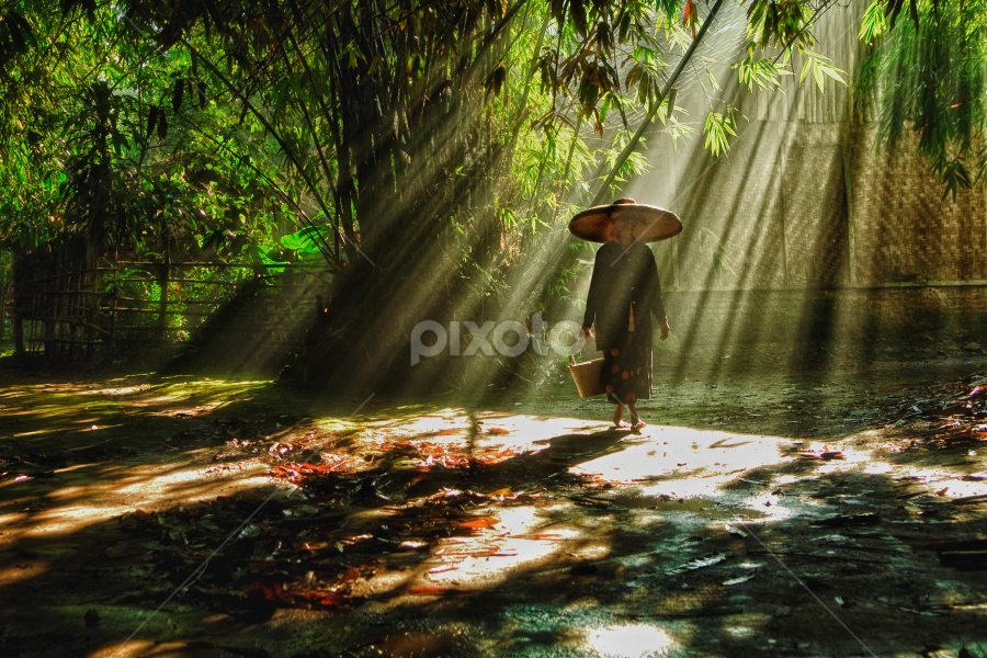 Greeting from Rumpin by Aditya Perdana - City,  Street & Park  Neighborhoods ( person, girl, woman, sunlight )