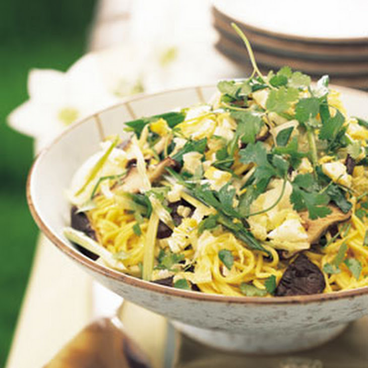 Asian Noodle, Mushroom, and Cabbage Salad Recipe