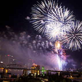 Fireworks 2 by Ross Bolen - Public Holidays July 4th ( skyline, nashville, tennessee, fireworks, city )