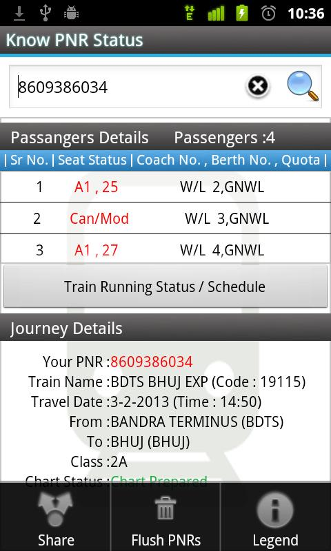 PNR and Indian Rail Enquiry - screenshot