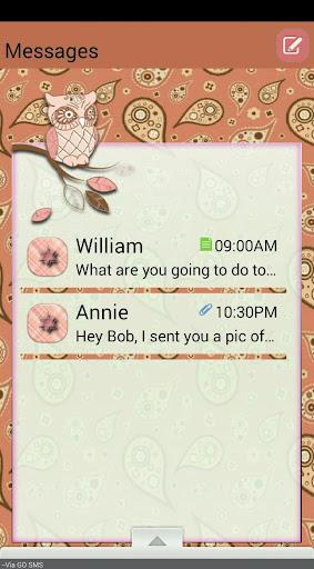 PaisleyOwls GO SMS THEME
