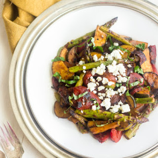 Grilled Mediterranean Vegetable Salad with Tomato Balsamic Vinaigrette.