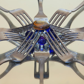 crown of forks by José M G Pereira - Artistic Objects Cups, Plates & Utensils ( forks, reflection, marbles, glass, circle )