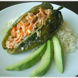 Chiles Rellenos (Filled Chiles) with Tuna Salad.