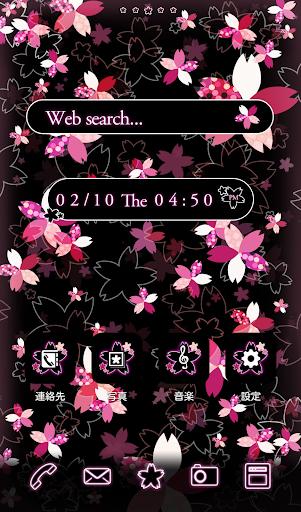 かわいい春のおしゃれ壁紙★幻想的なネオンピンクの夜桜