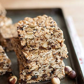 Cocoa-Hazelnut Granola Bars with Dried Figs.