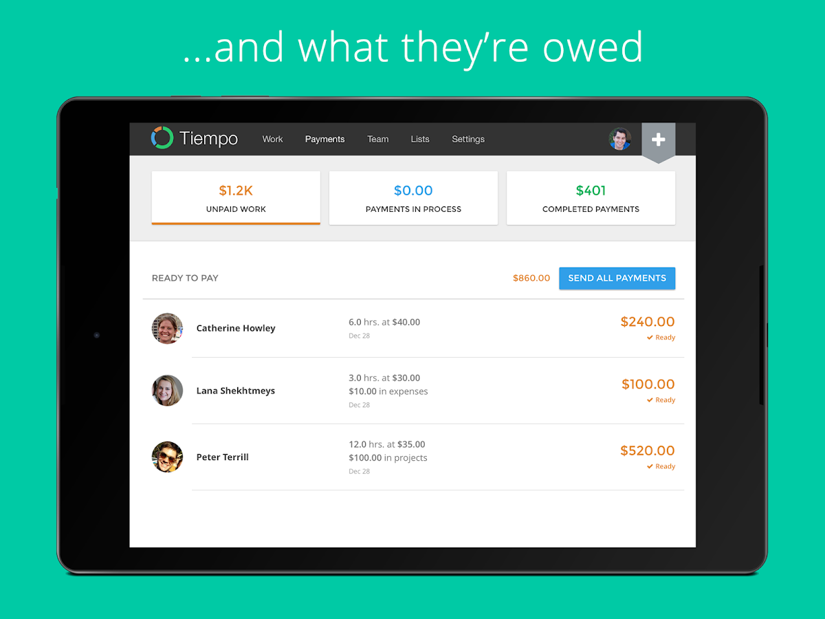 Tiempo: Contractor Payments - screenshot