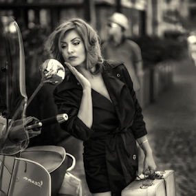 Betty Boo by Andrei Grososiu - People Portraits of Women ( mirror, black and white, vintage, woman, street )