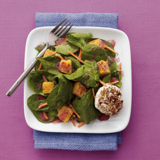 Pecan-Crusted Goat Cheese Salad with Pomegranate Vinaigrette.