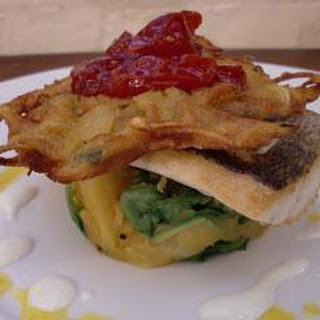 Bream With Sag Aloo, Onion Bhajis And Tomato Chilli Jam.