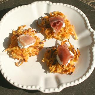 Sweet & White Potato Pancakes with Greek Yogurt and Smoked Salmon