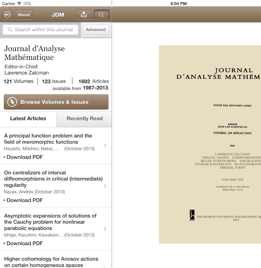 Journal D'Analyse Mathematique - screenshot