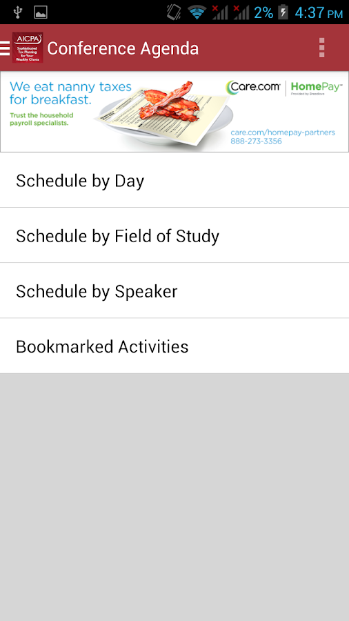 AICPA Conferences - screenshot