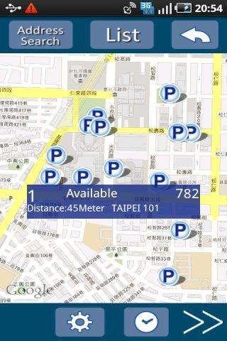 Mojo Parking :available spaces - screenshot