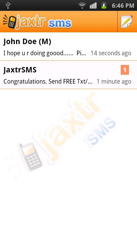 JaxtrSMS - screenshot