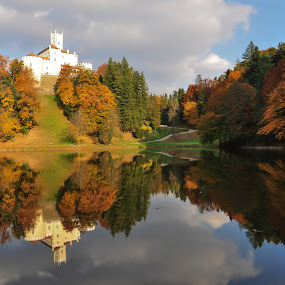 Castle by the lake by Dubravka Krickic - Buildings & Architecture Public & Historical ( mirrored reflections, trakoscan, autumn, croatia, castle, lake, , relax, tranquil, relaxing, tranquility )